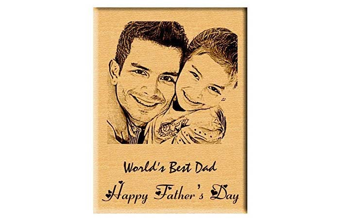 Engraved wooden photo