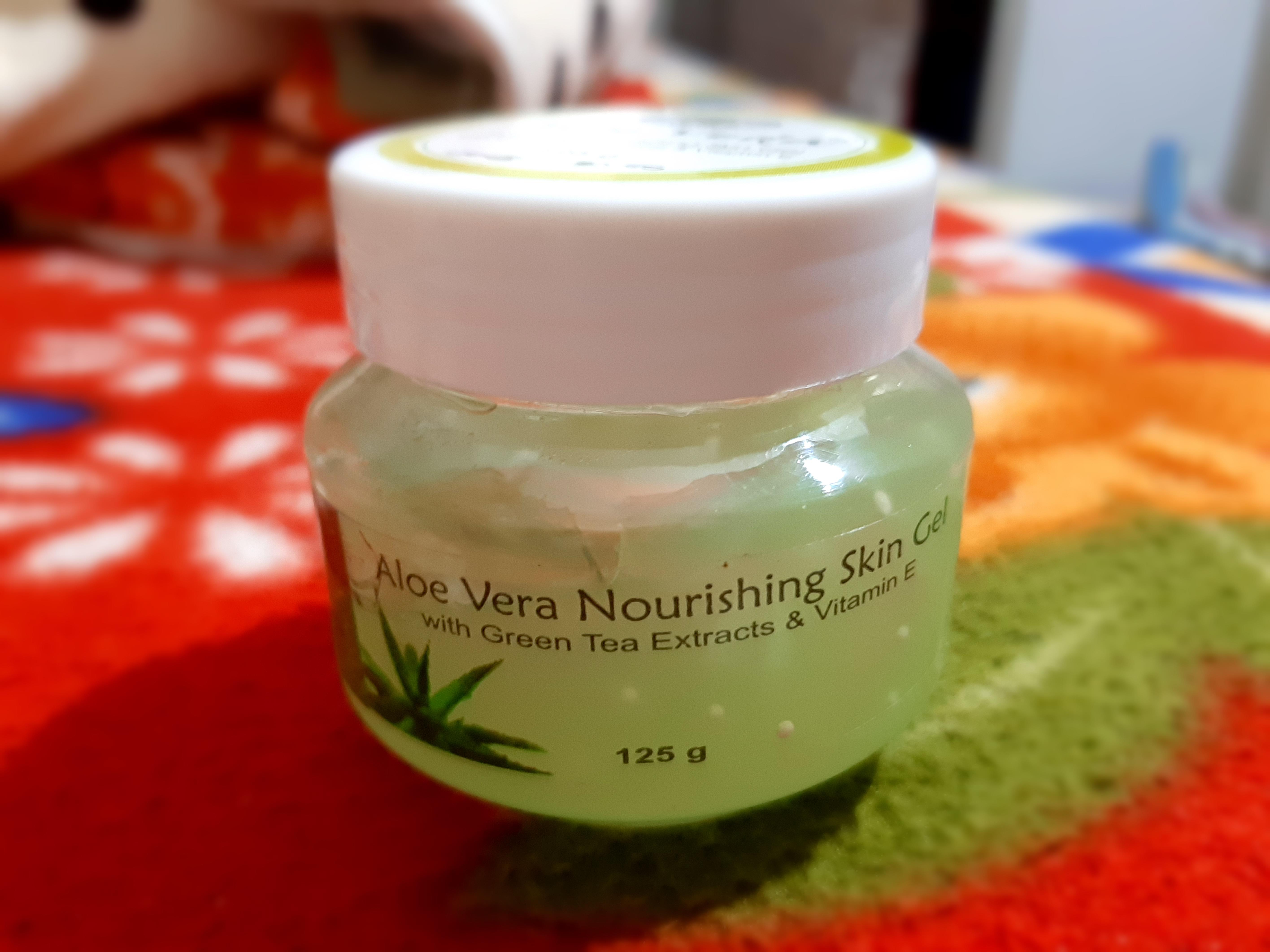 Aloe Veda Aloe Vera Nourishing Skin Gel With Green Tea Extracts & Vitamin E-Multi Use Aloe Vera Gel-By kusum_jain