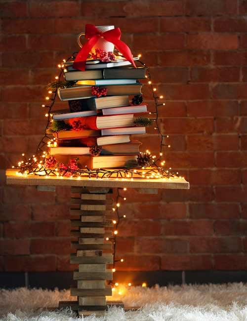 Book And Jenga Christmas Tree