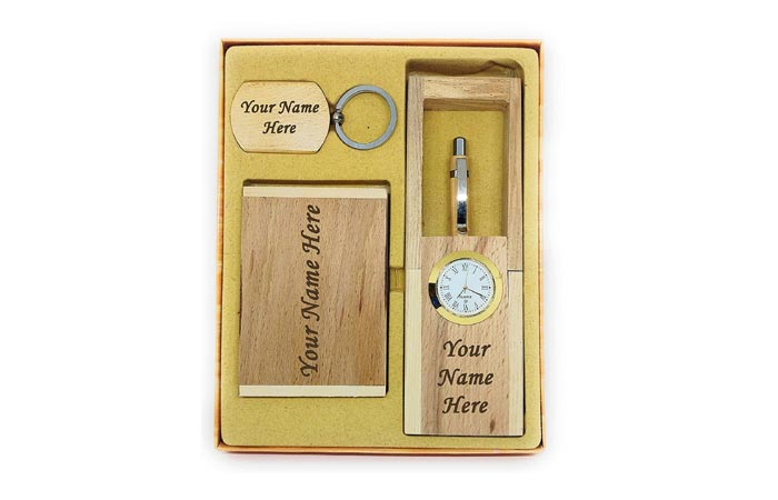 Wooden ball pen, pen card holder and keychain set