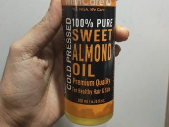 WishCare Pure Cold Pressed Sweet Almond Oil -This oil is too good.It corrects bad hair and increases their length q-By neetu_solanki
