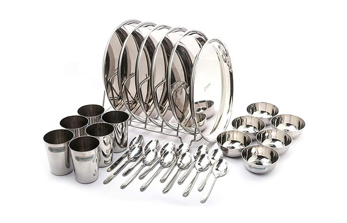 Coconut Stainless Steel (Heavy Guage)Dinner Set