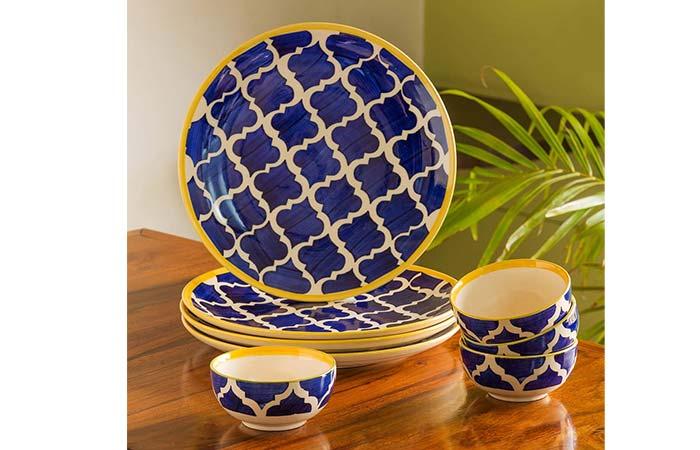 ExclusiveLane Moroccan Handpainted Ceramic Dinner Set