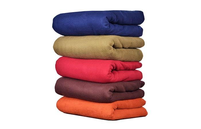 Goyal's Plain Fleece Double Bed Blankets