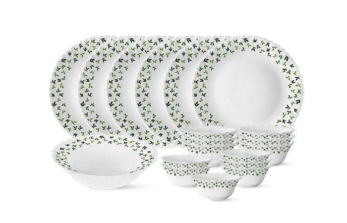 Larah by Borosil Sage Silk Series Dinner Set