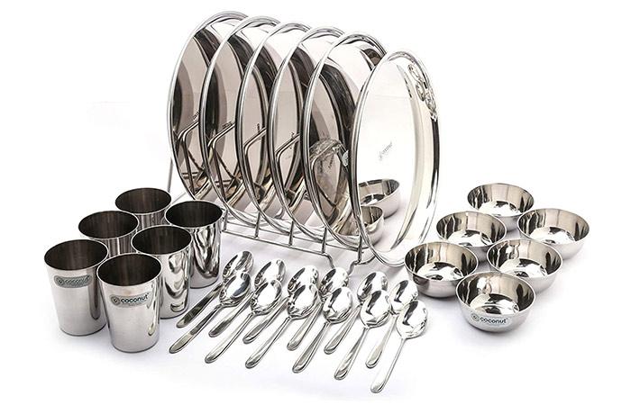Coconut Stainless Steel Dinner Set