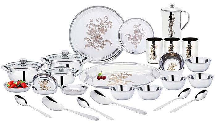 Uddhav Gold Stainless Steel Dinner Set