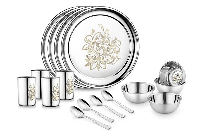 Jensons Stainless Steel Daisy Dinner Set