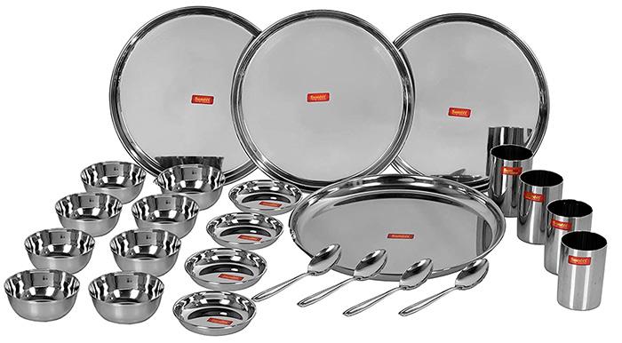 Sumeet Stainless Steel Mirror Finish Dinner Set