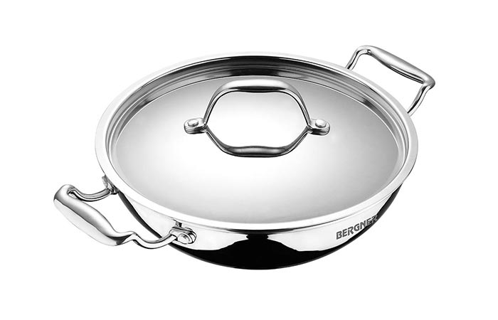 BERGNER BG-6348 Argent Triply Stainless Steel Kadai With Lid