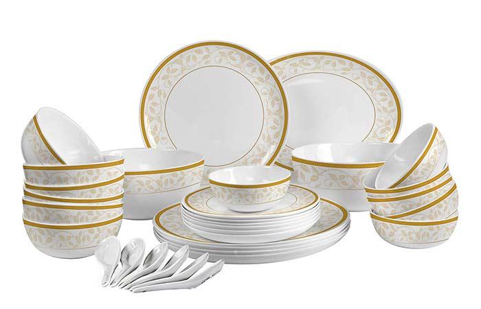 Cello Royal Amber Gold Opalware Dinner Set