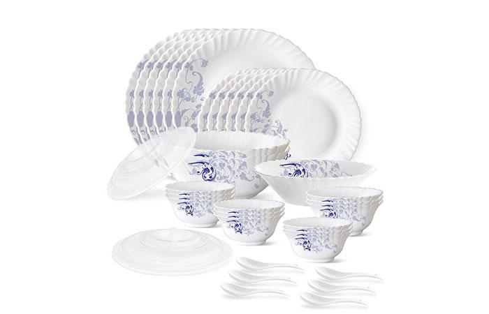 Larah by Borosil Blue Eve Silk Series Opalware Dinner Set