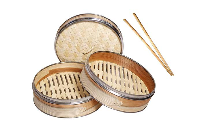 Livzing 2-Tier Bamboo Steamer with Steel Ring Lid