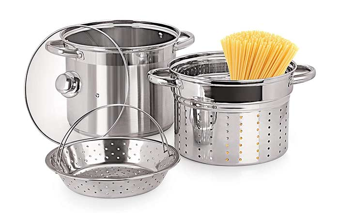Pristine Stainless Steel Multi-Purpose Steamer With Glass Lid