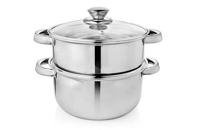Vinayak Stainless Steel 2 Tier Steamer Set With Lid