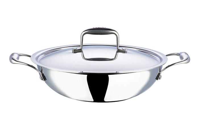 Vinod Platinum Triply Stainless Steel Kadai With Lid