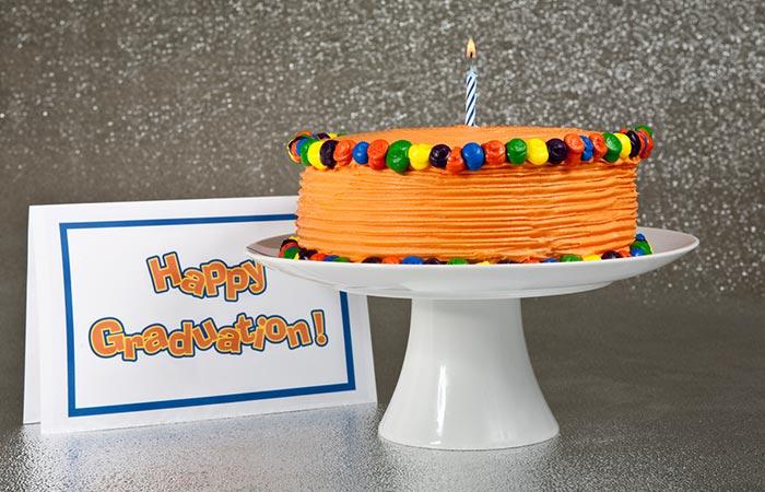 Caramel And Multi-colored Marzipan Graduation Cake