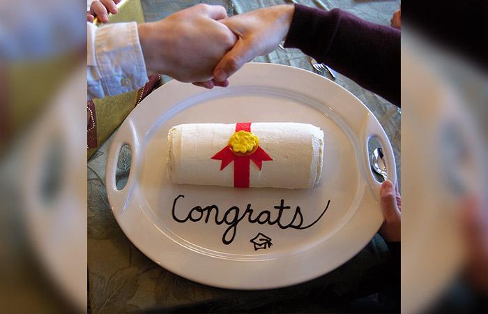Diploma Shaped Graduation Cake