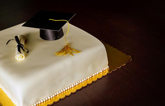 Marzipan Icing Cake With Graduation Cap And Diploma
