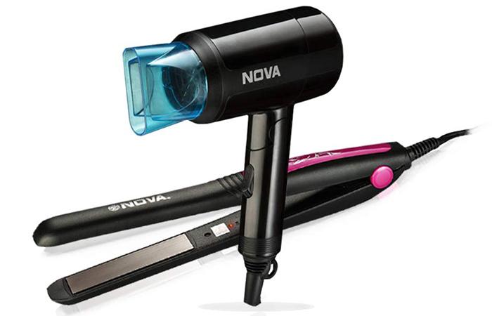 Nova Hair Straightener And Hair Dryer Styling Kit