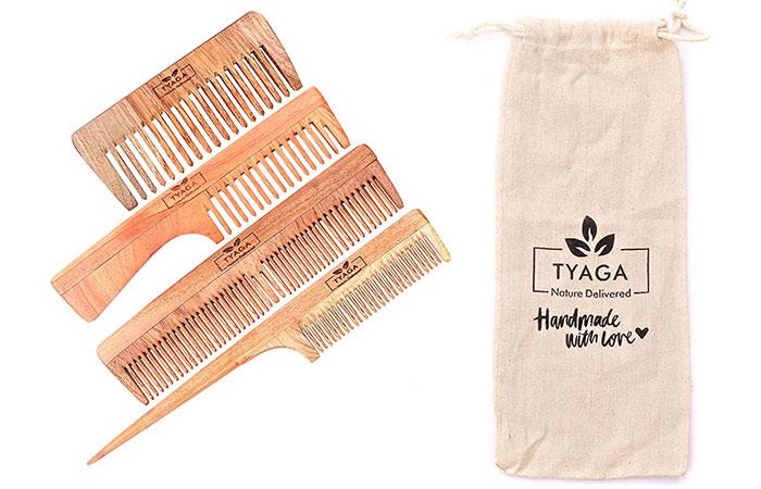 Tyaga Handmade Neem Wood Comb (Family pack)