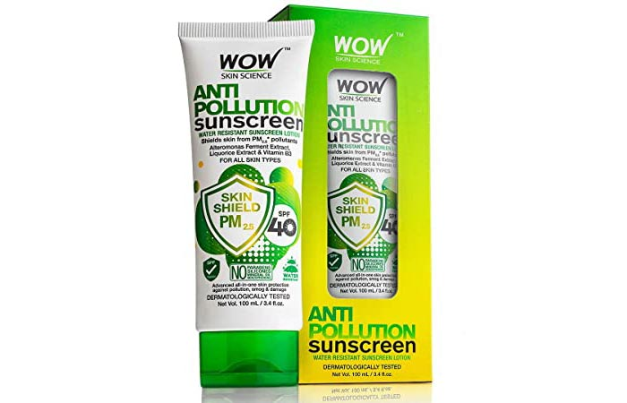 WOW Anti Pollution Sunscreen Lotion Skin Shield PM2.5 SPF 40