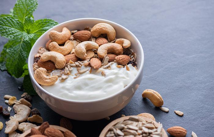 Plain Greek Yogurt And Nuts