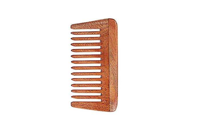 Aatira Natural Pure Neem Wood Comb Wide Tooth Wooden Comb For Hair Growth For Women And Men