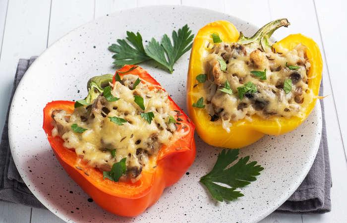 Cheesy Mushroom Stuffed Bell Pepper