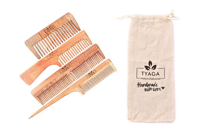 Tyaga Handmade Neem Wood Anti-Dandruff Comb with Pure Cotton Pouch