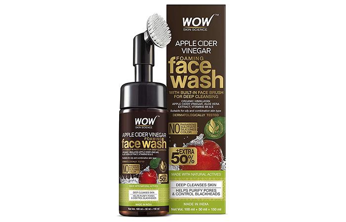 Best Paraben-Free Formula: Wow Skin Science Apple Cider Vinegar Foaming Face Wash