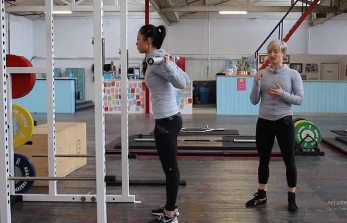 Bring both your feet in the same line and keep them hip-width apart.