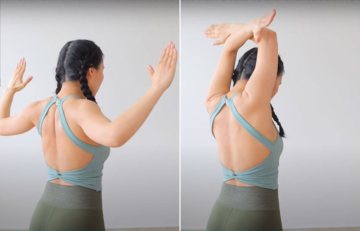 Shoulder Squeeze And Overhead Arm Cross For A Hunched Back1